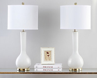 Luz Long Neck Ceramic Table Lamp (Set of 2), White, rollover