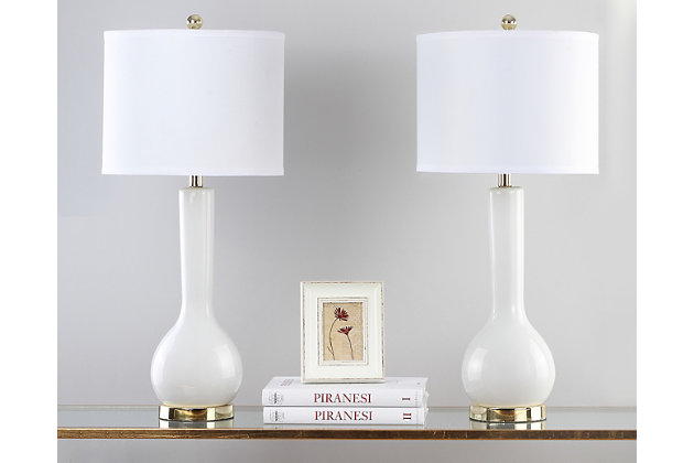 Luz Long Neck Ceramic Table Lamp (Set of 2), White, large