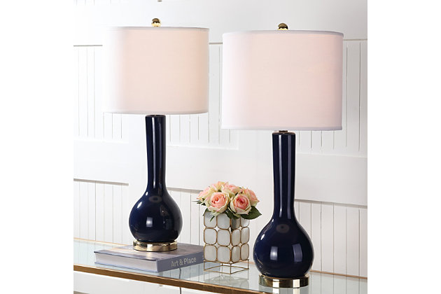 Luz Long Neck Ceramic Table Lamp (Set of 2), Navy, large