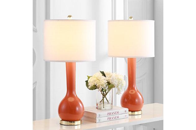 Luz Long Neck Ceramic Table Lamp (Set of 2), Orange, large
