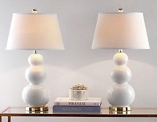 Waterloo Triple Gourd Ceramic Lamp (Set of 2), White, large
