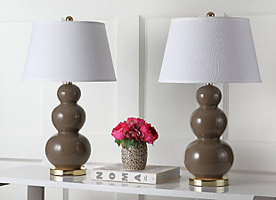 Waterloo Triple Gourd Ceramic Lamp (Set of 2), Taupe, rollover