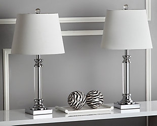 Pillar Shaped Crystal Table Lamp (Set of 2), , rollover