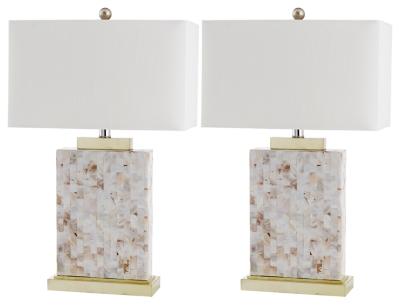 Shell Rectangular Table Lamp (Set of 2), , large