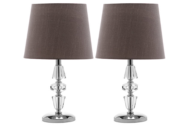 Tiered Crystal Lamp (Set of 2), Gray, large