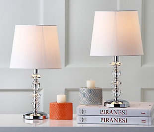 Stacked Crystal Orb Lamp (Set of 2), White, large
