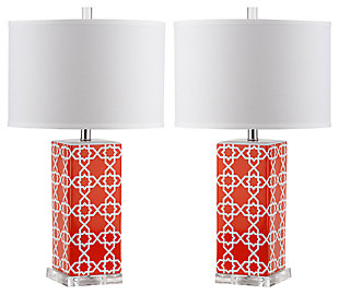 Lattice Table Lamp (Set of 2), Orange, large