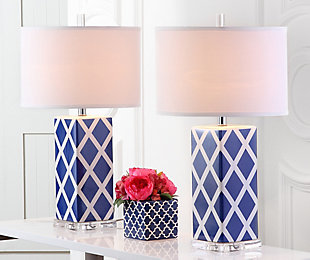 Garden Lattice Table Lamp (Set of 2), Navy, large