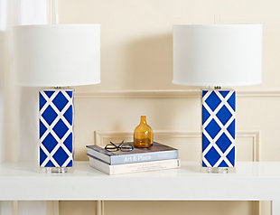 Garden Lattice Table Lamp (Set of 2), Navy, rollover
