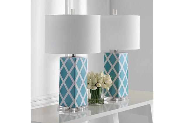 Garden Lattice Table Lamp (Set of 2), Light Blue, large