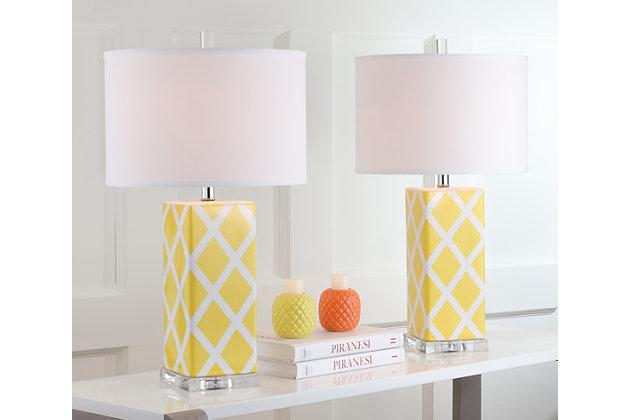 Garden Lattice Table Lamp (Set of 2), Yellow, large