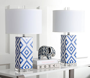 Diamond Patterned Table Lamp (Set of 2), Navy, rollover
