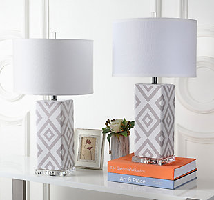 Diamond Patterned Table Lamp (Set of 2), , rollover