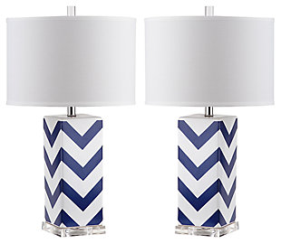 Chevron Print Table Lamp (Set of 2), Navy, large