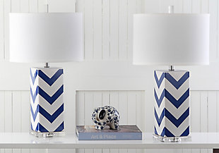 Chevron Print Table Lamp (Set of 2), Navy, rollover