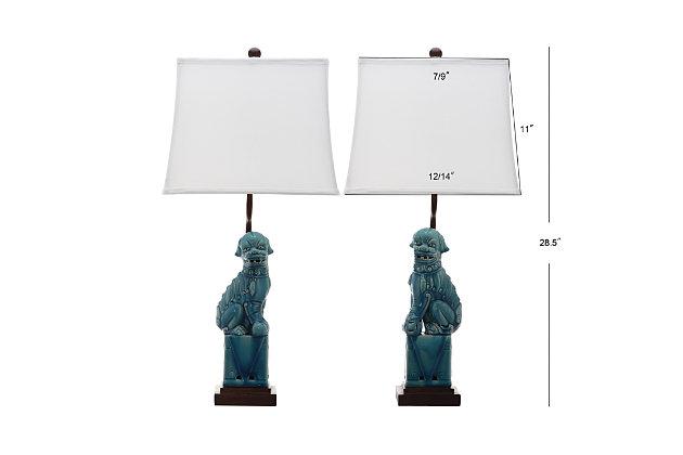 Foo Dog Table Lamp (Set of 2), Marine Blue, large