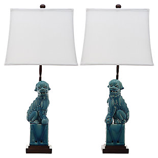 Foo Dog Table Lamp (Set of 2), Marine Blue, large