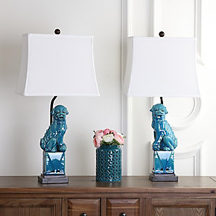 Foo Dog Table Lamp (Set of 2), Marine Blue, rollover