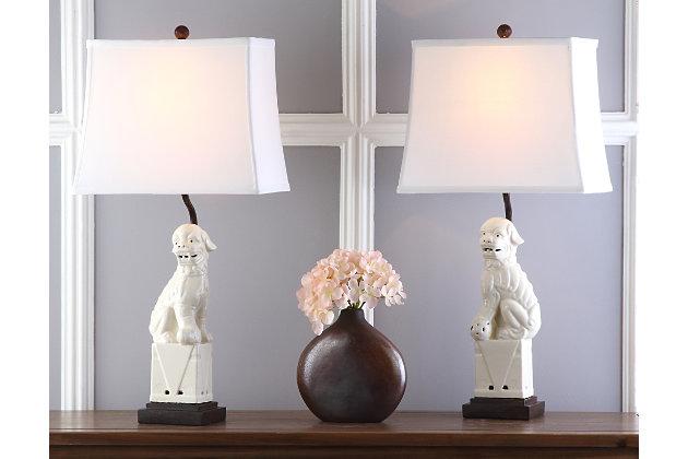 Foo Dog Table Lamp (Set of 2), Cream, large