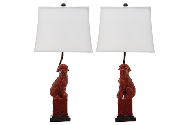Foo Dog Table Lamp (Set of 2), Sangria, large