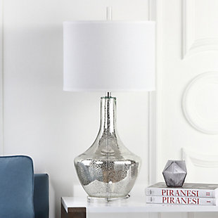 Crackle Glass Urn Table Lamp, Ivory/Silver, large