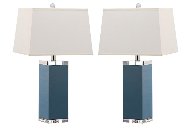 Faux Leather Table Lamp (Set of 2), Marine Blue, large
