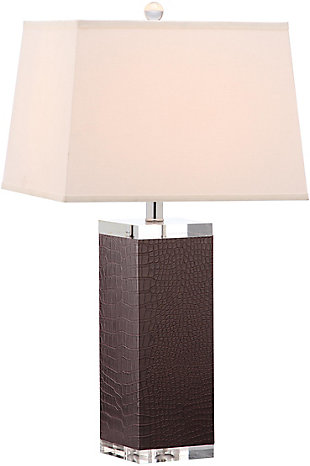 Faux Leather Table Lamp (Set of 2), Dark Brown, rollover