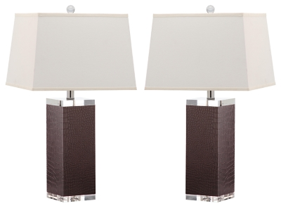 Faux Leather Table Lamp (Set of 2), Dark Brown, large