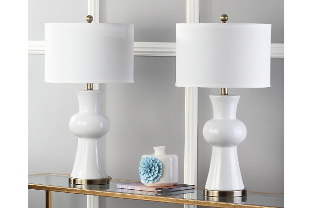 Ceramic Lamp (Set of 2), White, large