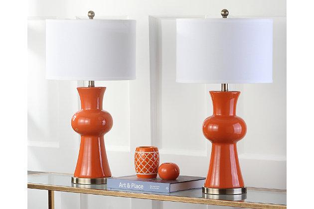 Ceramic Lamp (Set of 2), Orange, large