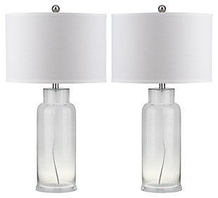 Cylinder Bottle Glass Table Lamp (Set of 2), Transparent, large