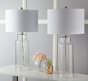 Cylinder Bottle Glass Table Lamp (Set of 2), Transparent, rollover