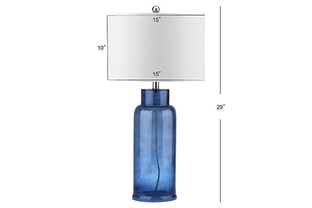 Cylinder Bottle Glass Table Lamp (Set of 2), Transparent Blue, large