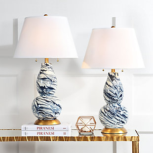 Gourd Shaped Color Swirls Glass Table Lamp (Set of 2), White/Navy, large