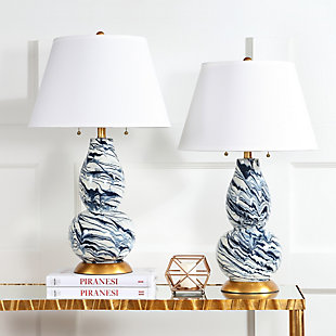 Gourd Shaped Color Swirls Glass Table Lamp (Set of 2), White/Navy, rollover