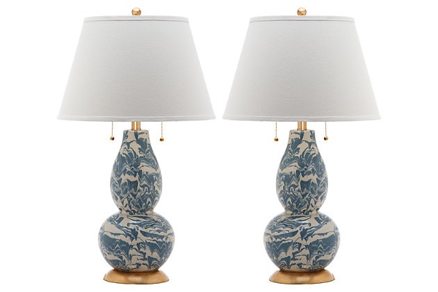 Gourd Shaped Color Swirls Glass Table Lamp (Set of 2), Marine Blue/White, large