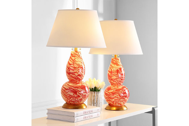 Gourd Shaped Color Swirls Glass Table Lamp (Set of 2), Sangria/White, large