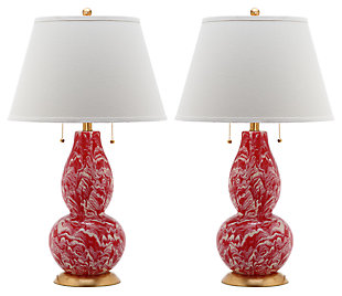 Gourd Shaped Color Swirls Glass Table Lamp (Set of 2), , large