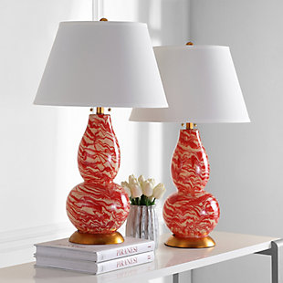 Gourd Shaped Color Swirls Glass Table Lamp (Set of 2), , rollover