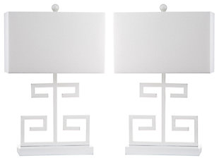 Metal Greek Key Table Lamp (Set of 2), White, large