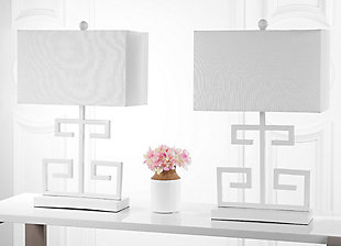 Metal Greek Key Table Lamp (Set of 2), White, rollover