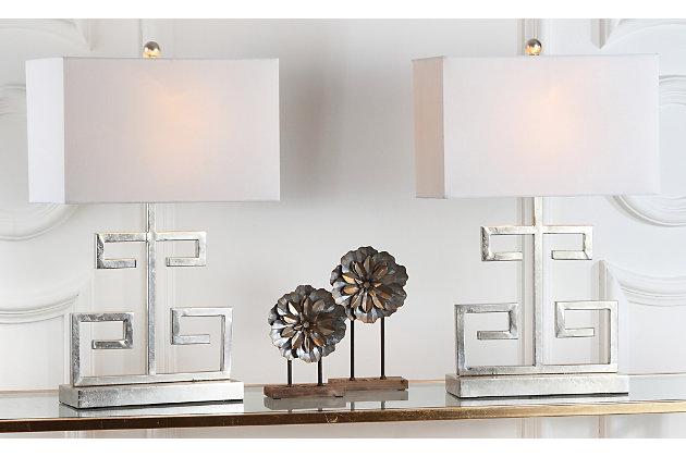 Metal Greek Key Table Lamp (Set of 2), Antique Silver, large