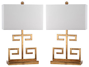 Metal Greek Key Table Lamp (Set of 2), Gold Finish, large