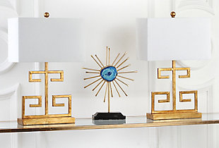 Metal Greek Key Table Lamp (Set of 2), Gold Finish, rollover