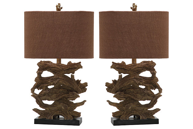 Faux Wood Table Lamp (Set of 2), , large