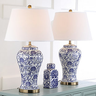 Spring Blossom Table Lamp (Set of 2), White/Navy, large