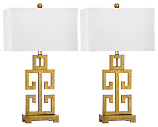 Gold Finished Greek Key Table Lamp (Set of 2), , large