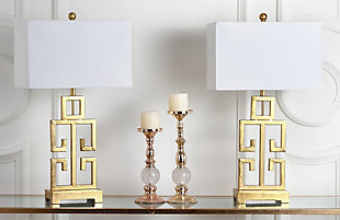 Gold Finished Greek Key Table Lamp (Set of 2), , rollover