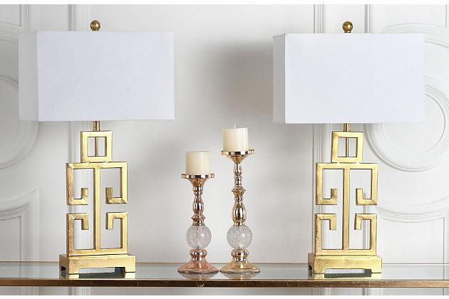 Gold Finished Greek Key Table Lamp (Set of 2), , large