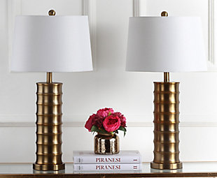 Cylinder Shaped Brass Table Lamp (Set of 2), , rollover